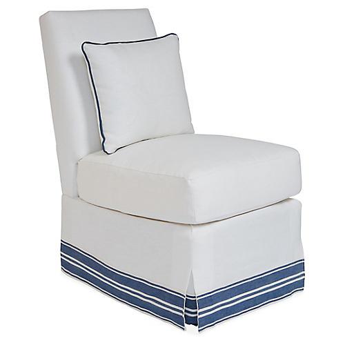 Wilshire Slipper Chair, Ivory/Blue Band Linen