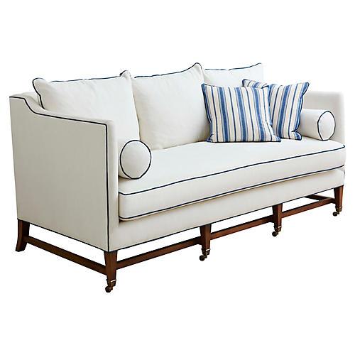 Brentwood Sofa, Ivory/Blue Linen