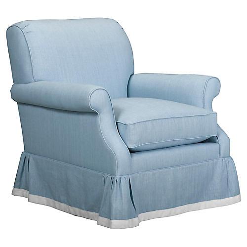 San Remo Club Chair, Light Blue Linen