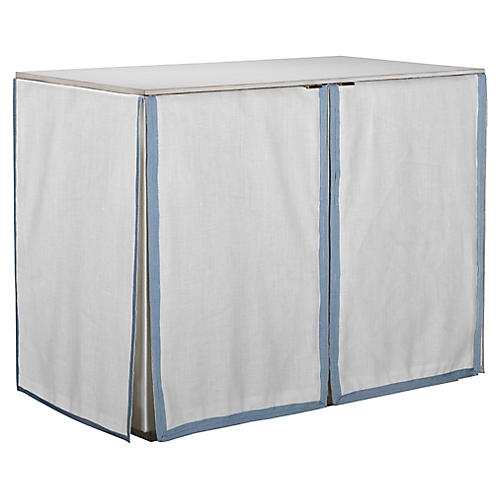 Havenhurst Skirted Chest, Ivory/Blue Linen