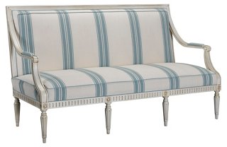 Presidio Settee, Light Blue Stripe. Timeless Furniture Finds & Timeless Thoughts.