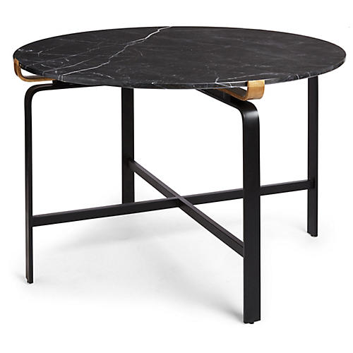 Juliette Round Dining Table, Black/Gold