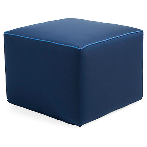 Celia Square Pouf, Navy/Blue
