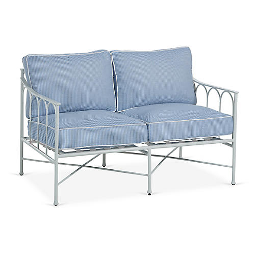 Celia Loveseat, Denim/White Stripe