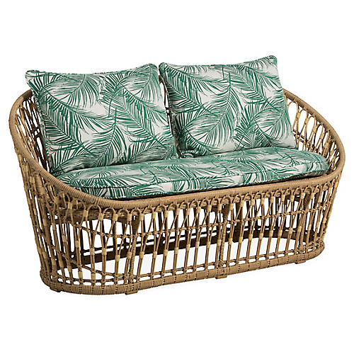 Palma Wicker Loveseat, Emerald Palm