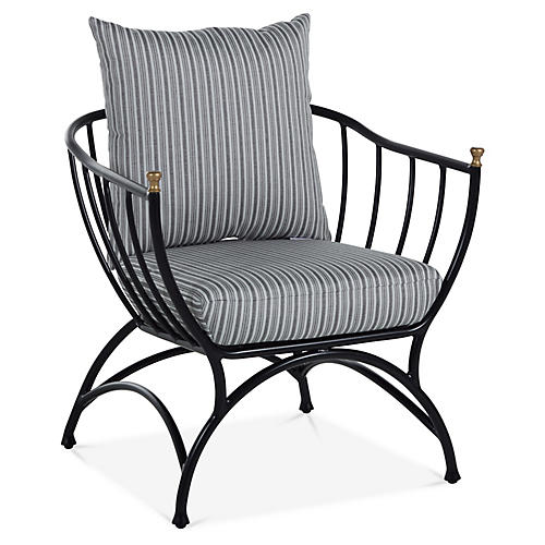 Frances Accent Chair, White/Black Stripe