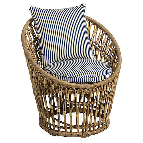 Palma Wicker Chair, White/Midnight