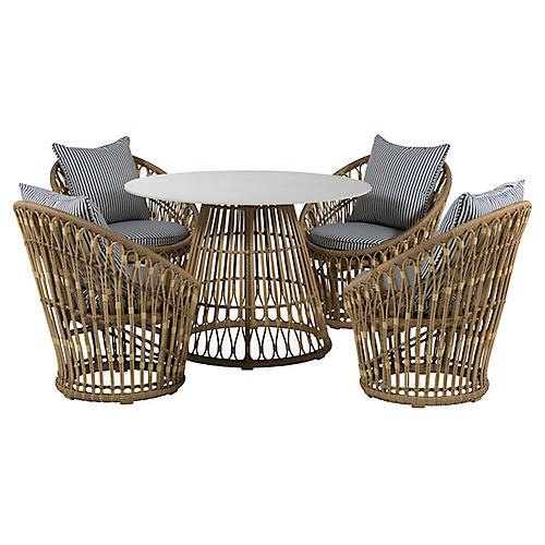 Palma 5-Pc Wicker Dining Set, White/Midnight