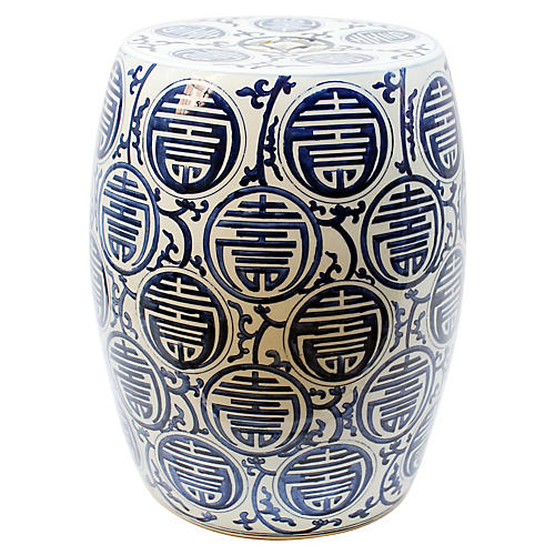 Sucre Garden Stool, Blue/White