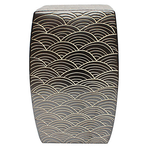 Sikora Garden Stool, Black/White