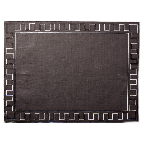 Gessho Place Mat, Charcoal/White