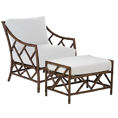 Coco Chair & Ottoman Set, Brown/White