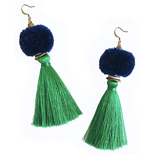 Tassel Pom-Pom Drop Earrings, Navy/Green