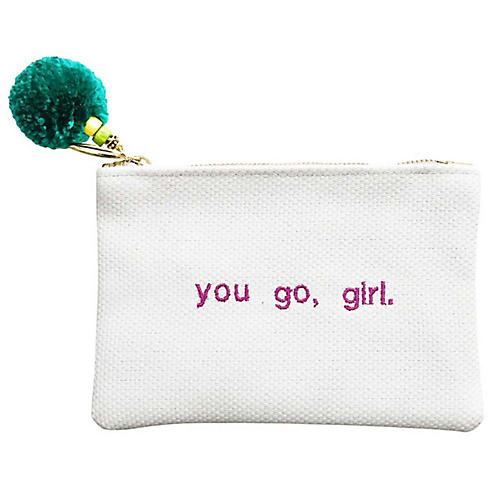 You Go, Girl Reversible Leather Pouch, Multi