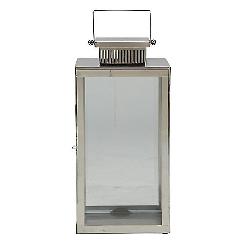 "24"" Arroyo Wide Outdoor Lantern, Polished Nickel"