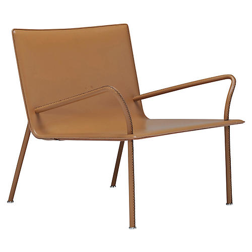 Lys Wide Armchair, Tan Leather