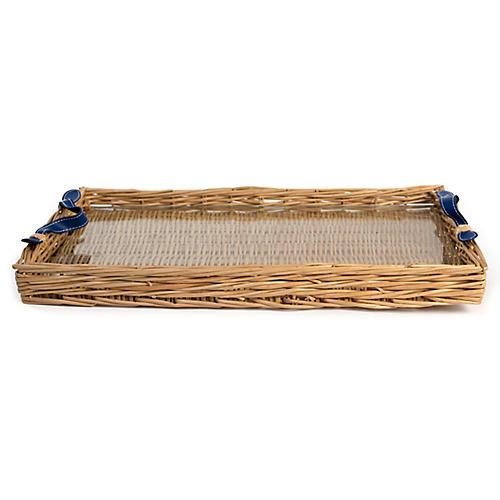 Island Decorative Tray, Natural/Blue