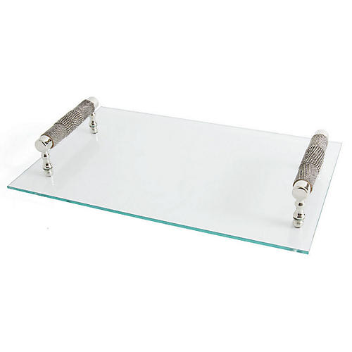 Plath Serving Tray, Clear/Silver
