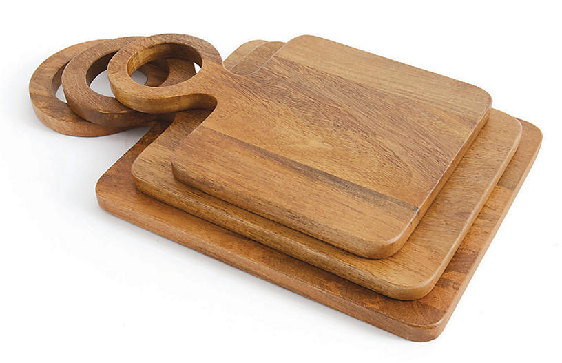 Asst. of 3 Crane Cheese Board Set, Mocha