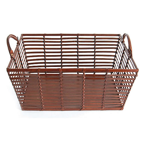 "22"" Farther Leather Basket, Pecan"