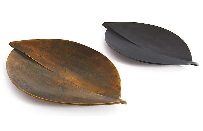 Asst. of 2 Rafter Decorative Trays - Rust/Black