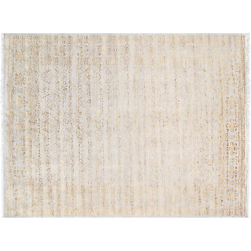 9'x12' Transitiona Hand-Knotted Rug, Beige