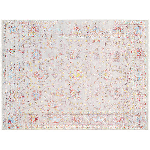 "8'11""x12' Transitiona Hand-Knotted Rug, Ivory"
