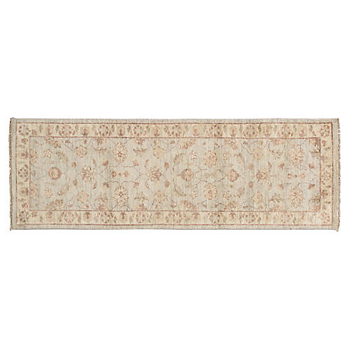 "2'1""x6'4"" Peshawar Runner, Light Blue/Beige"