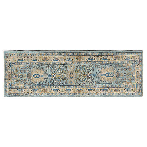 "3'x9'2"" Turkish Oushak Runner, Blue"