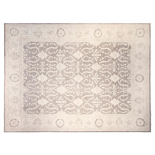 10'x14' Peshawar Hand-Knotted Rug, Gray