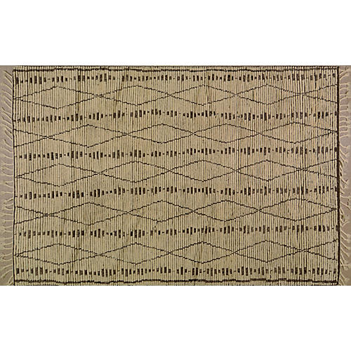 Moroccan Hand-Knotted Rug, Cream/Brown