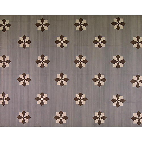 8'x10' Bursa Flat-Weave Rug, Gray/Brown