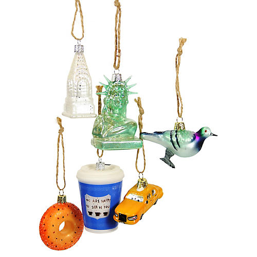 Asst. of 6 New York City Ornaments, Green