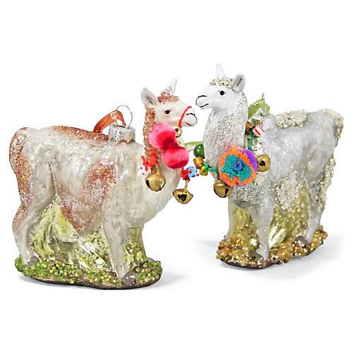 Asst. of 2 Festive Llama Ornaments, Ivory/Multi