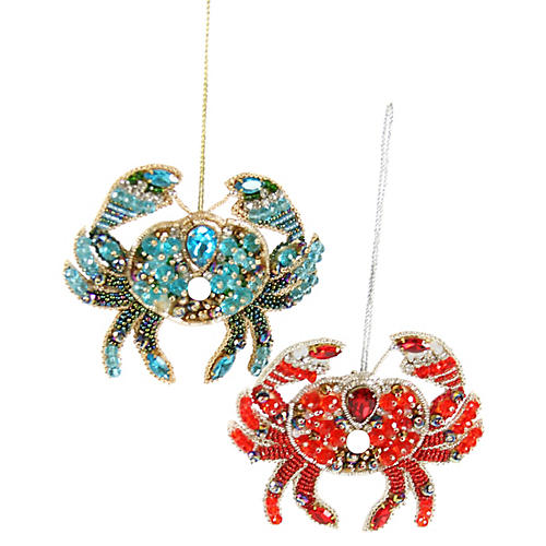 Asst. of 2 Beaded Crab Ornaments, Red/Blue