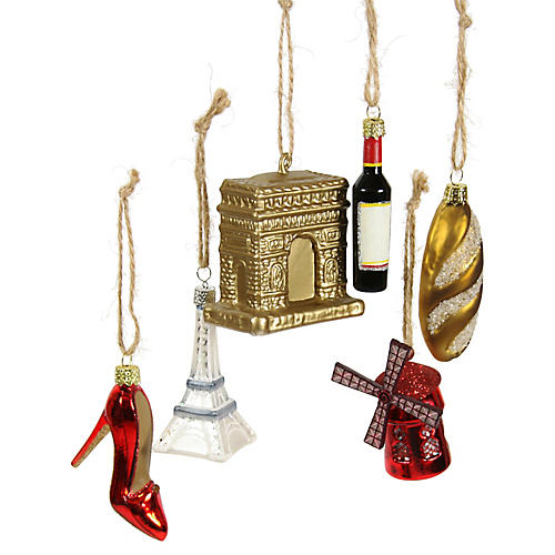 Asst. of 6 Paris Ornaments, Red/Multi