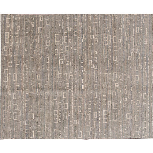 "8'1""x9'10"" Modern Hand-Knotted Rug, Gray"