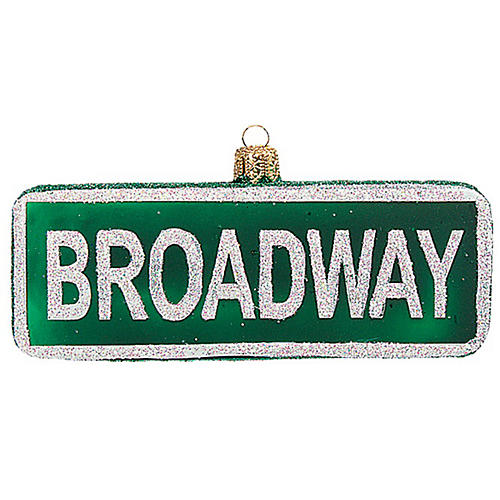 Broadway Sign Ornament, Green/White