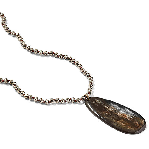 Teardrop Horn Pendant Necklace, Black