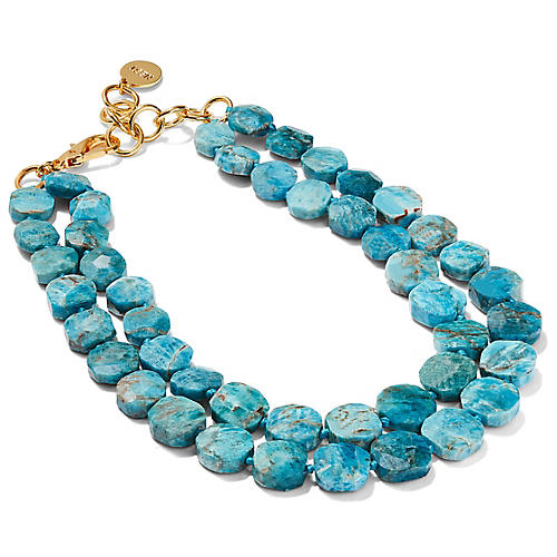 Apatite Double Strand Necklace, Blue