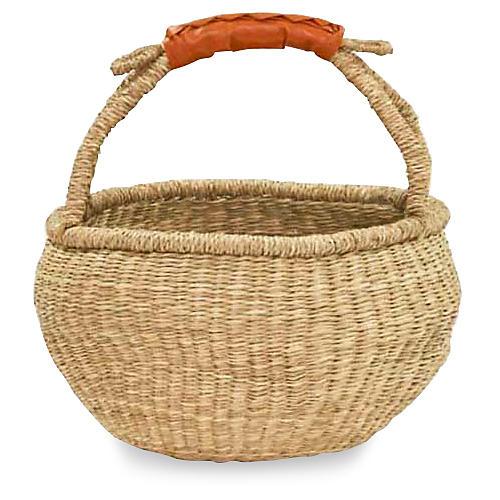 Petite Bolga Basket, Natural/Orange