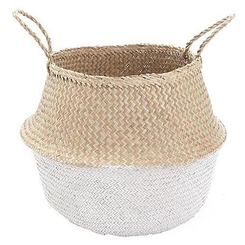 """15"""" Dipped Belly Basket, Natural/White"""