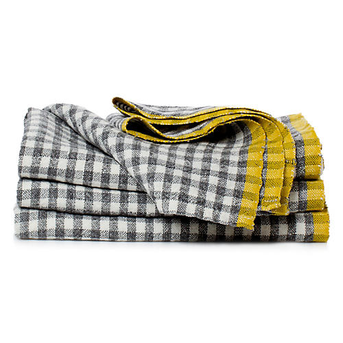 S/4 Macero Dinner Napkins, Gray