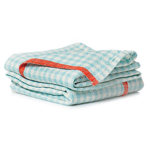 S/2 Macero Tea Towels, Aqua