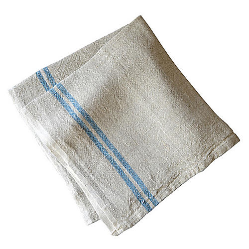 S/4 Wagner Dinner Napkins, Ivory/Blue