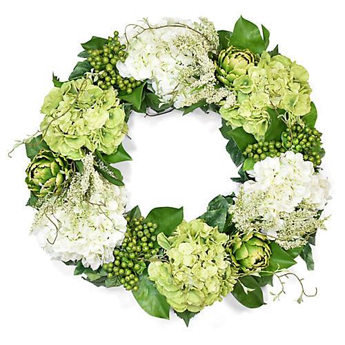 """30"""" Hydrangea & Artichoke Wreath, Faux"""
