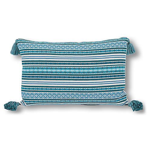Rex Stripe 16x24 Lumbar Pillow, Aqua