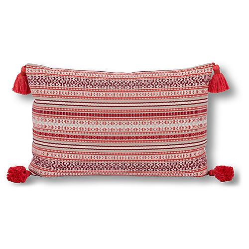 Rex Stripe 16x24 Lumbar Pillow, Red