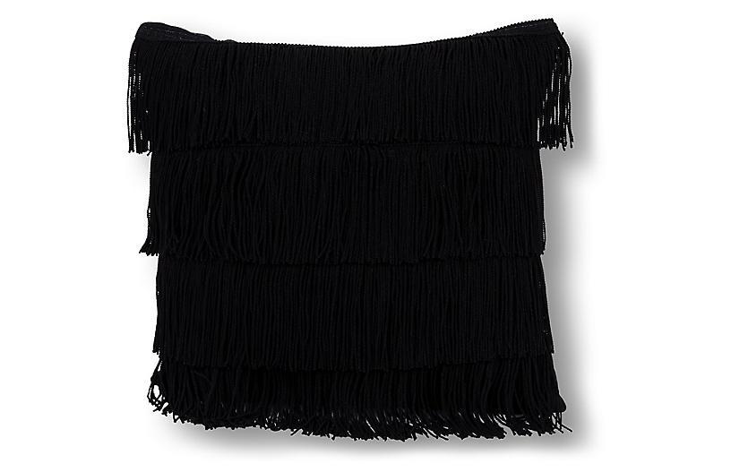 Fringe 20x20 Pillow, Black