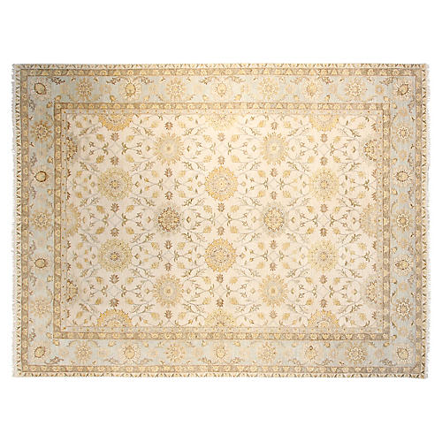 9'x12' Oushak Hand-Knotted Rug, Ivory/Sky Blue